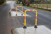 Pedestrian Barriers with Flexible Rubber Hinge